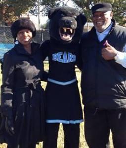 Sarah, Blue Bear Mascot and Nigel