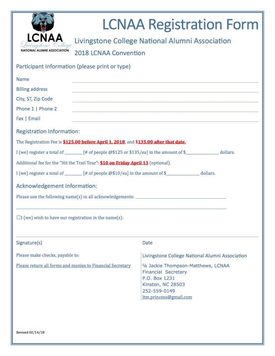 LCNAA Spring Conference Registration Form
